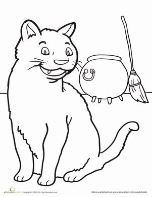 halloween animals coloring page black cat worksheet education com