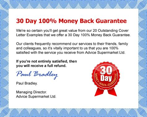 Sle Letter Money Back Guarantee 20 Outstanding Cover Letter Exles By Advice Supermarket