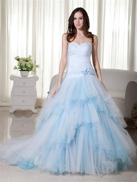 2017 new ball gown light blue colorful wedding dresses
