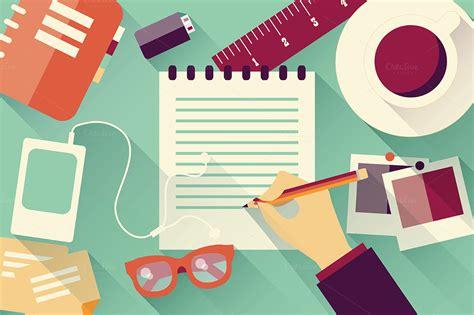 flat design is in desk flat design illustrations on creative market