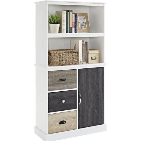 altra furniture mercer 2 shelf bookcase with storage