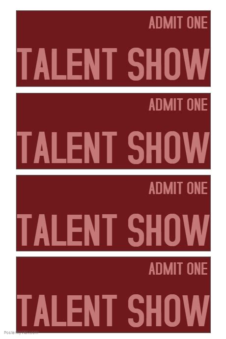 show ticket template talent show ticket template postermywall