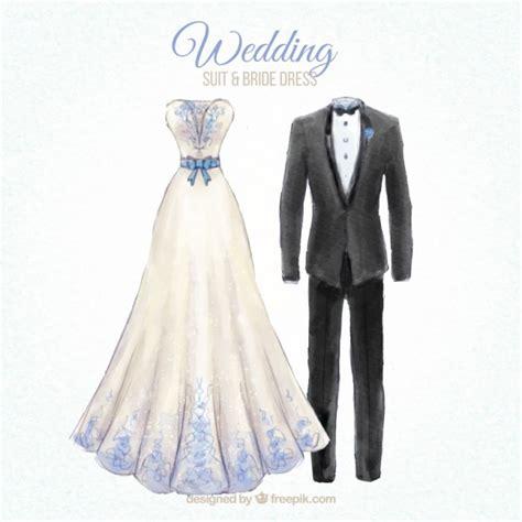 Wedding Dress Vector by Wedding Suit And Dress Desing Vector Premium