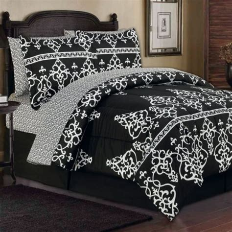 black damask bedding 8pc king toile french damask black white arabesque