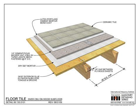 06.130.0102: Floor Tile   Cement Mortar on Wood Subfloor