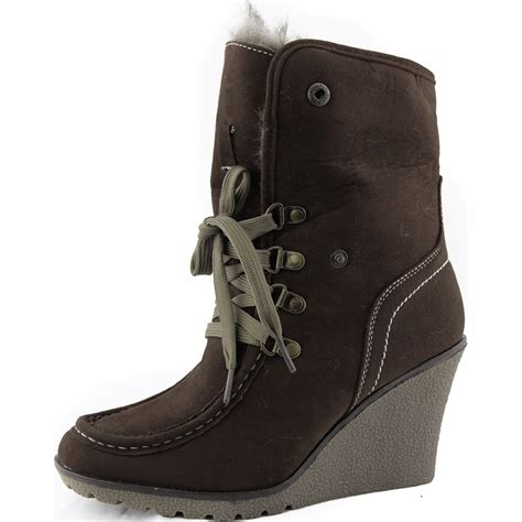 brown ankle boots high wedge heel faux fur vegan lace up