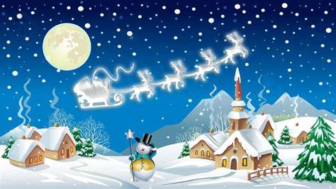 christmas night winter village snowman santa claus carriage  reindeer christmas wallpaper hd