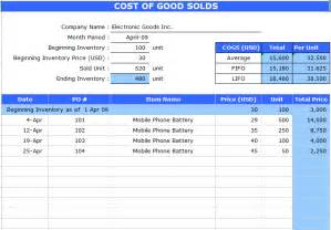 Cost Sheet Template Excel by Cost Of Goods Sold Sheet Template Microsoft Excel Templates