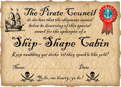 pirate certificate template pirate award for a ship shape room rooftop post printables