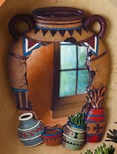 southwestern pottery decorative wall mirror