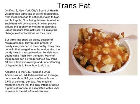 California Bans Transfat by Trans