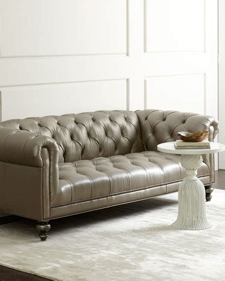 morgans chesterfield hickory tannery gray chesterfield leather sofa