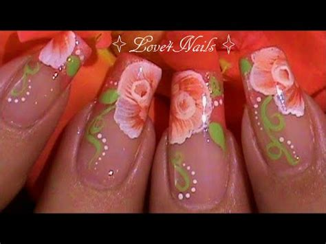 imagenes de uñas acrilicas mano alzada decoracion de u 241 as rosa a mano alzada youtube