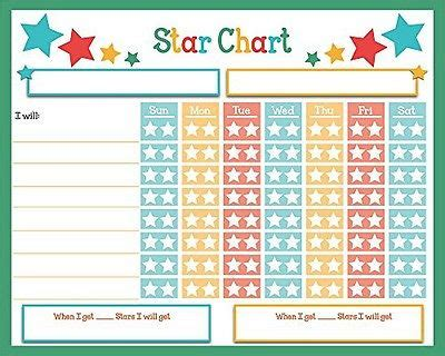 childrens reward chart rainbow stars chore chart