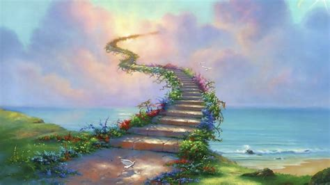 stairway  heaven path dove clouds abstract ultra  hd wallpaper  wallpaperscom