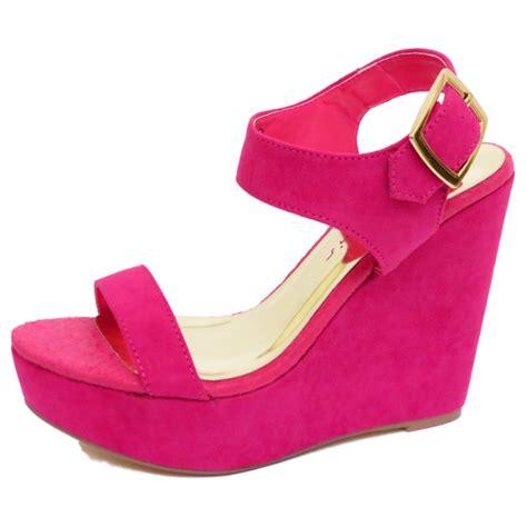 Sandal Wedges Wg14 Pink dolcis pink fuchsia wedge platform sandals peep toe shoes pumps sizes 3 8 ebay