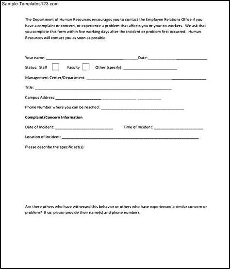 employee complaint form template employee complaint form sle sle templates