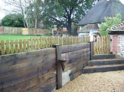 steps retaining wall   oak railway sleepers