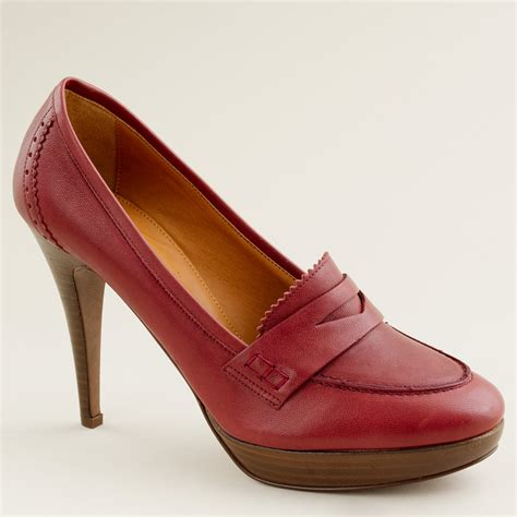 high heel loafers for j crew biella high heel loafers in henna lyst