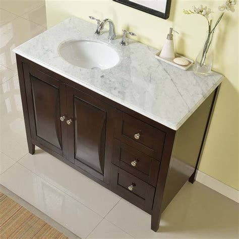 bathroom vanity with off center sink silkroad exclusive 45 inch carrara white marble top