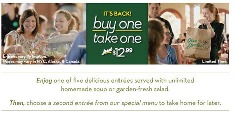 Olive Garden 12 99 by Buy One Take One At Olive Garden Only 12 99