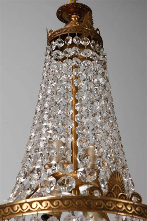 Canopy Chandelier Empire Style Beaded Chandelier With Brass Frame And Canopy