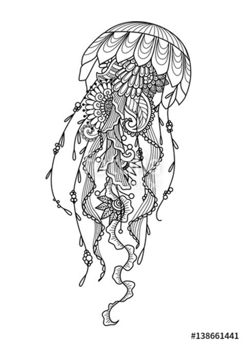 """""""and drawn jellyfish zentangle style for coloring book"""