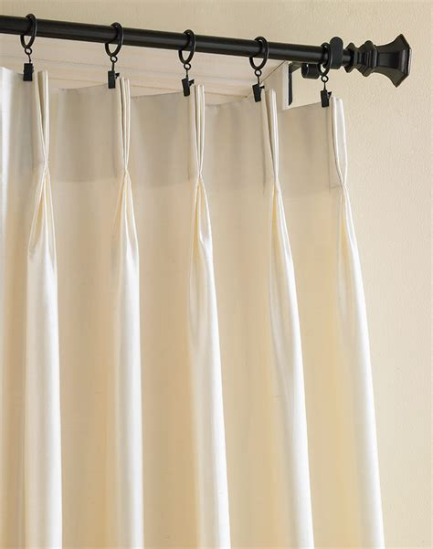 ivory silk drapes dupioni silk pinch pleat luxury curtain panel