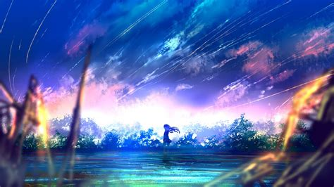 anime landscape android wallpaper download 1366x768 anime girl falling stars scenic