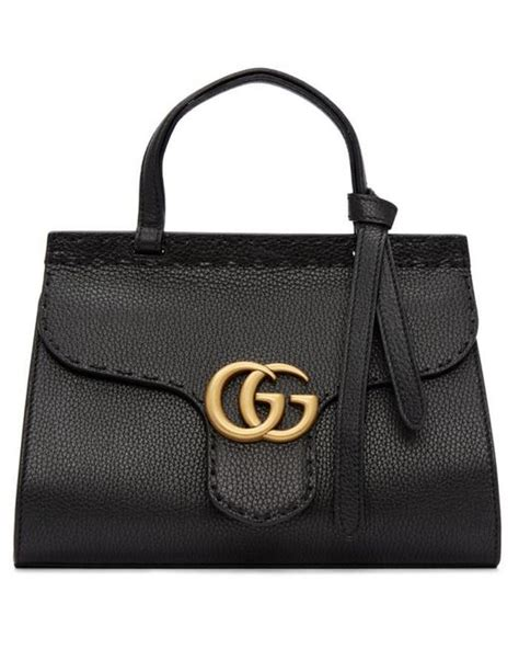 lyst gucci black mini gg marmont top handle bag in black