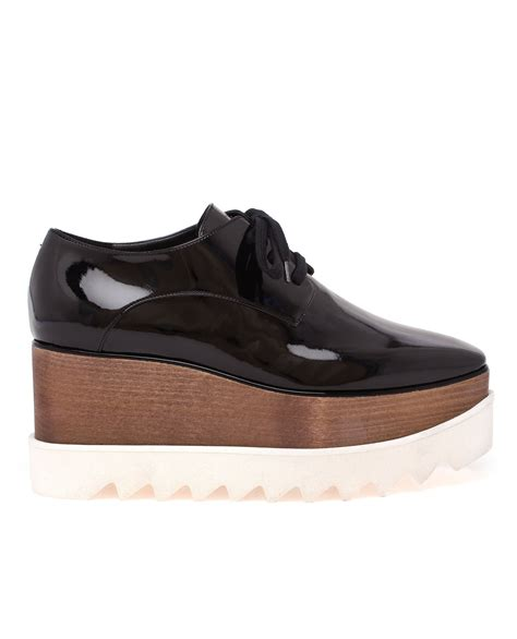 stella mccartney scarpa patent flatform shoes in black lyst