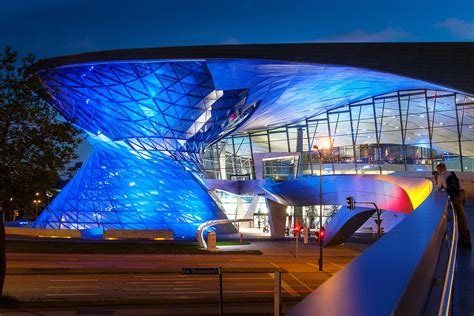 munich bmw welt architecture blue illuminated