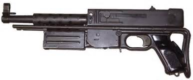 mat 49 submachine gun with shoulder stock retracted