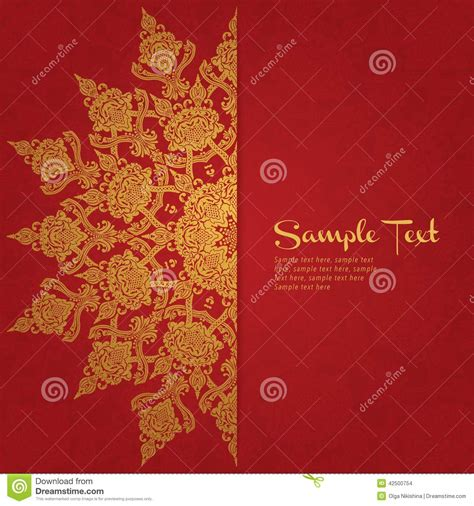 wedding invitation card red background design vector card in east style on red background stock vector