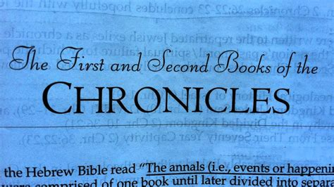 year one chronicles of the one book 1 books the bible 1 2 chronicles