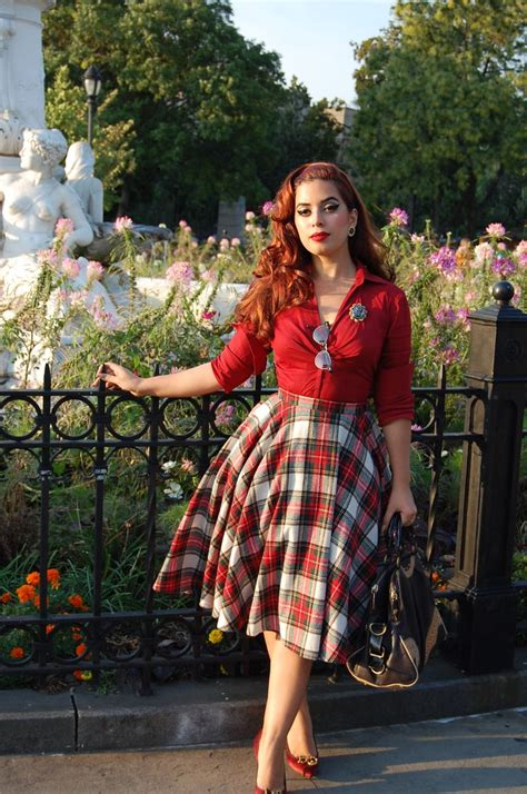 40s 50s style modern version of vintage fashions plaid