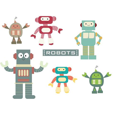 robots fabric wall stickers by littleprints