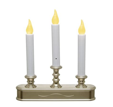 three tier battery operated window candle pewter dual