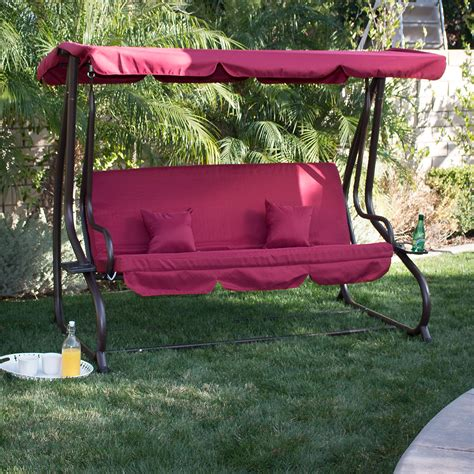 swing bench with canopy 3 person outdoor swing w canopy seat patio hammock