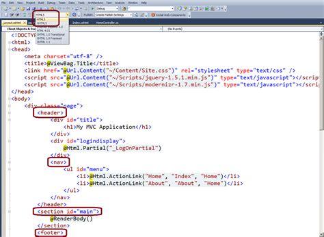 html5 asp net mvc 4 layout changing stack overflow use html5 in asp net mvc3 project stack overflow