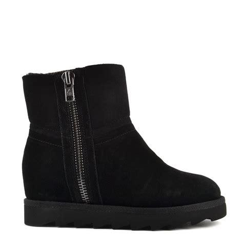 ash yang black shearling wedge ankle boot