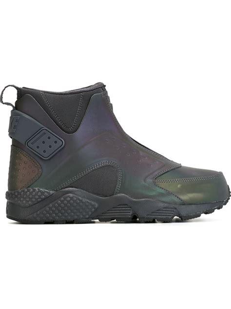 nike mid sneakers nike air huarache run mid premium sneakers in green lyst