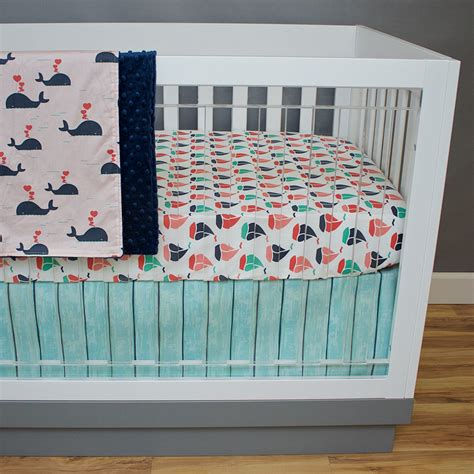 Crib Bedding Nautical Girl Coral Navy Mint Green Pink Baby Mint Green Crib Bedding
