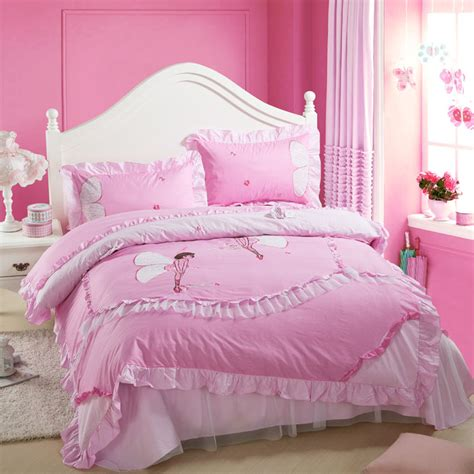 girls full size comforter set lace pink cotton comforter sets font b girls