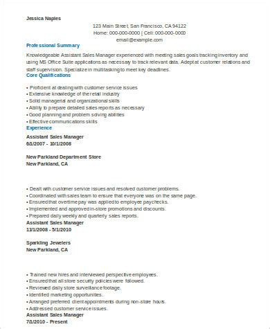 sle assistant manager resume 8 exles in word pdf
