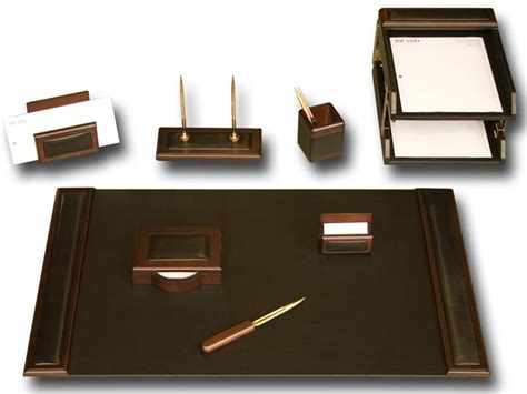 Office Desk Sets D8420 Walnut Leather 10 Desk Set