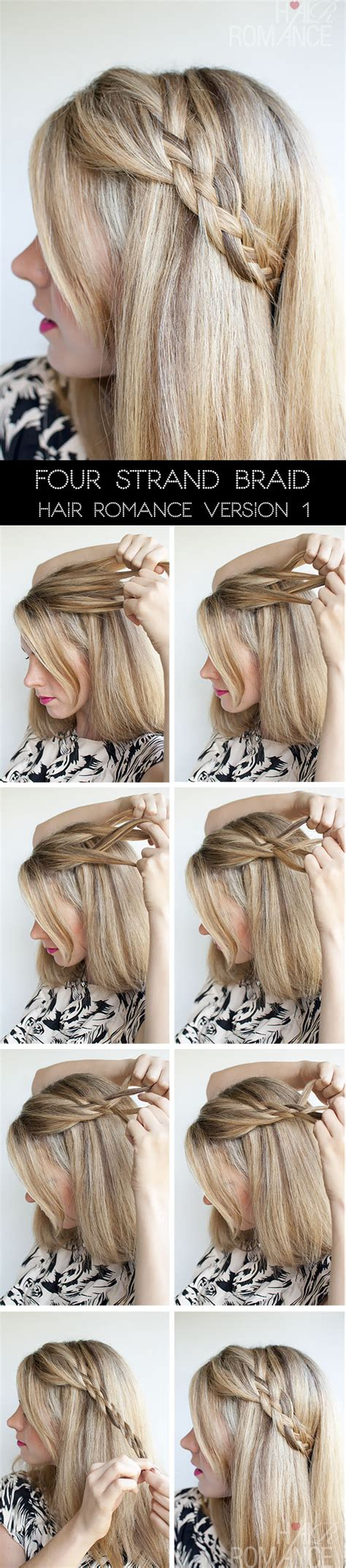 how to braid short hair step by step hairstyle tutorial four strand braids and slide up