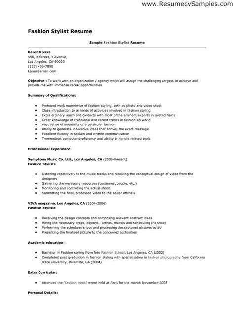fashion stylist resume exles fashion stylist resume this resume exle is for