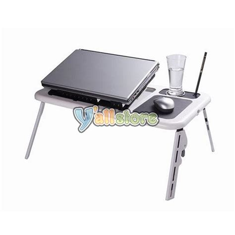 Portable Desk For Laptop New Laptop 2 Usb Fan Portable Desk Folding Stand Table Black White Ebay