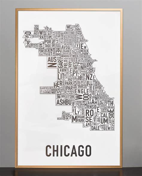 chicago neighborhood map poster chicago neighborhood map 24 quot x 36 quot classic black white